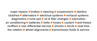 List of Services: major repairs, brakes, steering, suspensions, starters, clutches, alternators, electrical systems, exhaust systems, diagnostics, tune-ups, oil changes, filter changes, lubrication, air conditioning, batteries, belts, hoses, coolant, anti-freeze, mufflers, rear differential service, shocks, struts, new tires, tire rotation, wheel alignments, transmission fluids and service